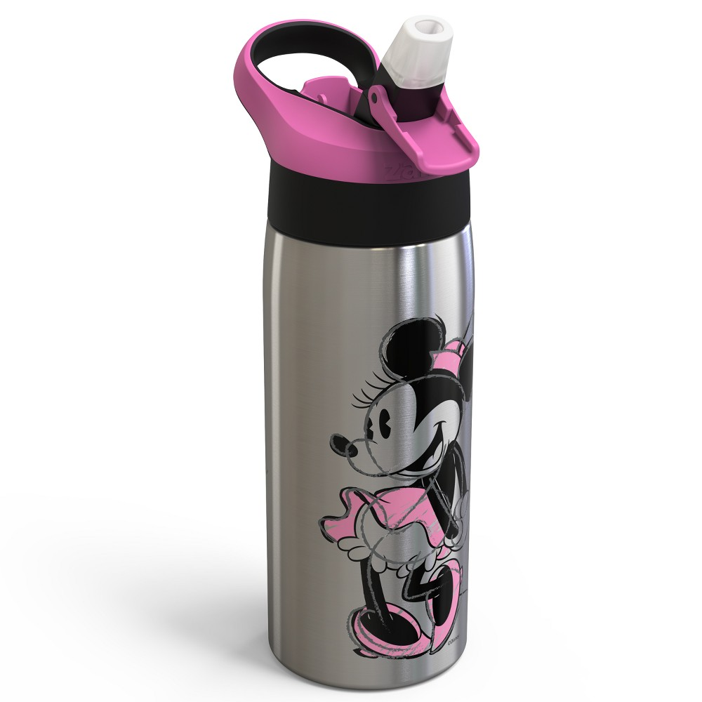 Image of Mickey Mouse & Friends Minnie Mouse 19oz Stainless Steel Water Bottle Pink/Black, Multi-Colored