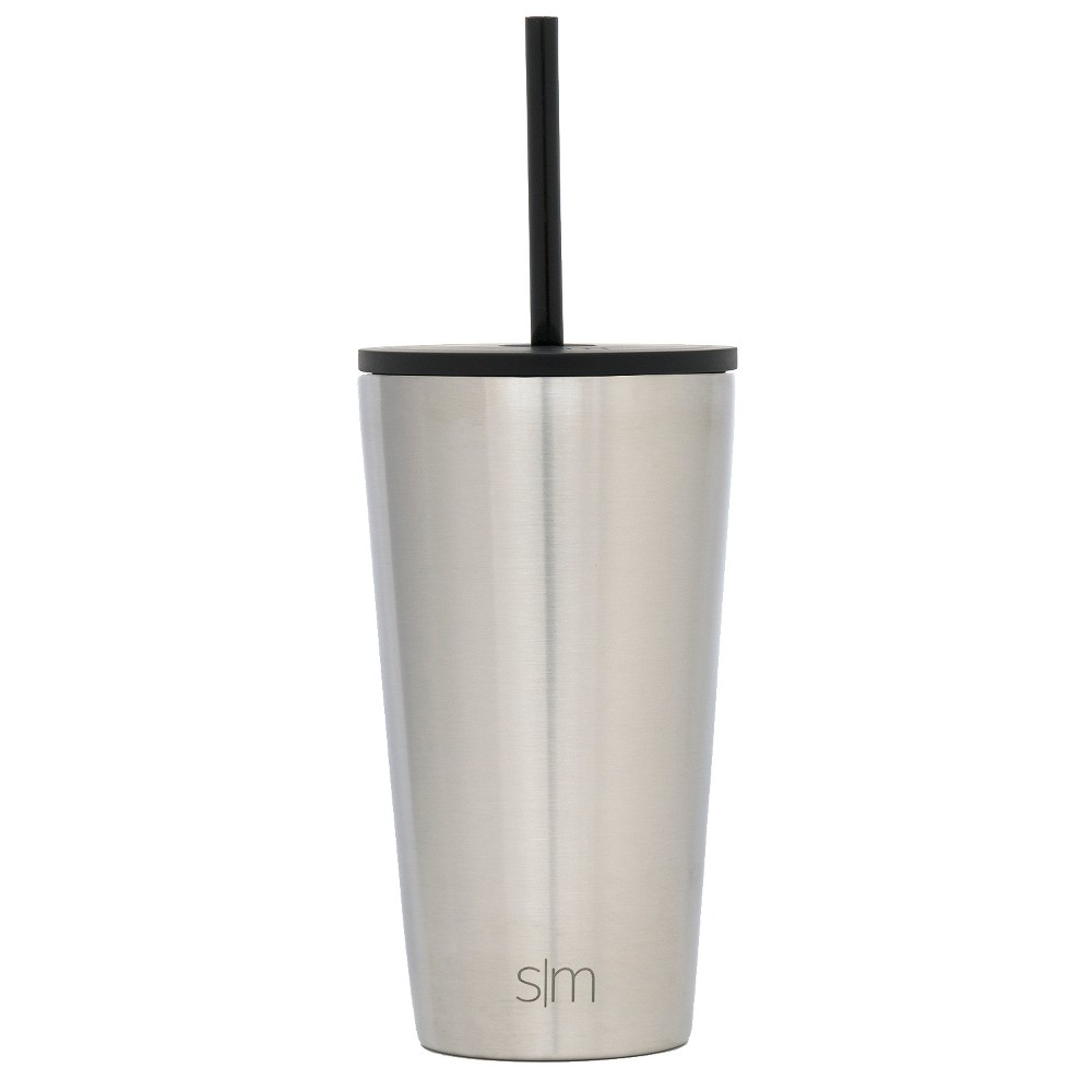 Simple Modern 16oz Stainless Steel Straw Tumbler Silver