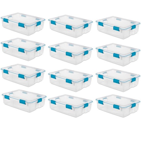 Sterilite 37 Qt Thin Gasket Box Clear Storage Bin Containers, 12-Pack | 19314304 - image 1 of 4