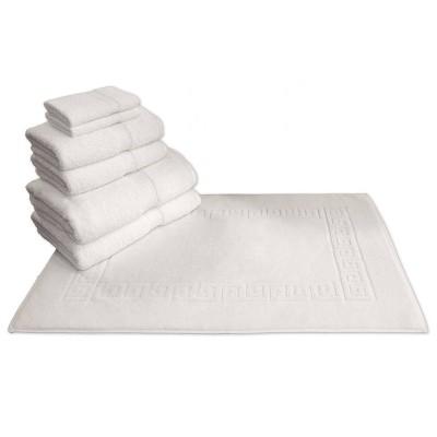 7pk Greek Key Turkish Towel Set White - Linum Home Textiles