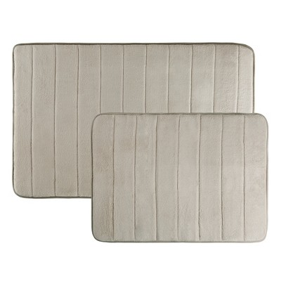 2pc Memory Foam Non Slip Bath Mat Set Taupre Brown - Yorkshire Home