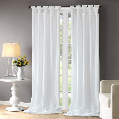 Lillian Twisted Tab Lined Curtain Panel White 50 x95