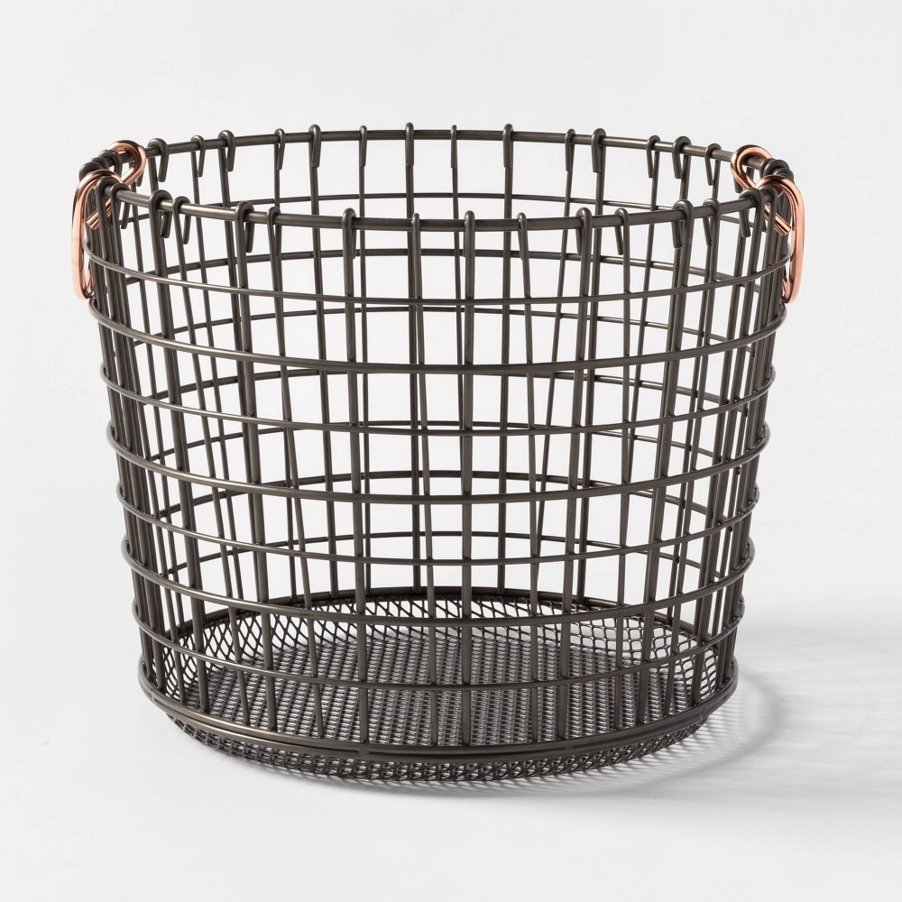 Image of Wire Round Basket Copper Handle With Mesh Bottom Pewter - Threshold , Silver
