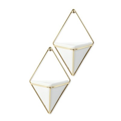 Set of 2 Small Trigg Display Wall Planters White/Brass - Umbra