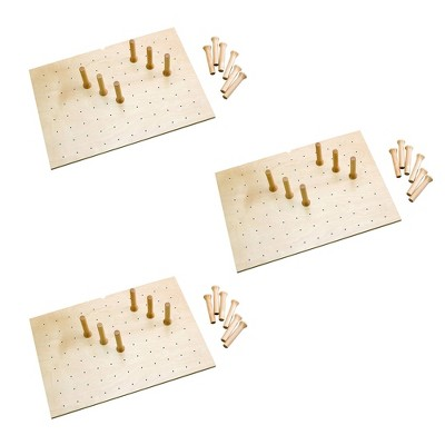 Rev-A-Shelf 4DPS-3921 Large 39 x 21 Inch Wood Peg Board System for Deep Drawers Organizer with 16 Pegs and Exact Fit Customization, l Maple (3 Pack)