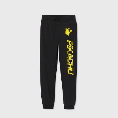 Boys' Pokemon 'Pikachu' Fleece Jogger Pants - Black