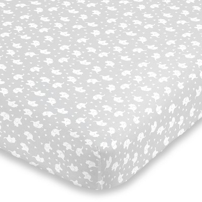 NoJo Super Soft Gray and White Elephant Fitted Mini Crib Sheet