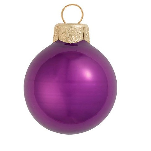 "Northlight 6ct Pearl Glass Ball Christmas Ornament Set 4"" - Soft Plum Purple - image 1 of 1"