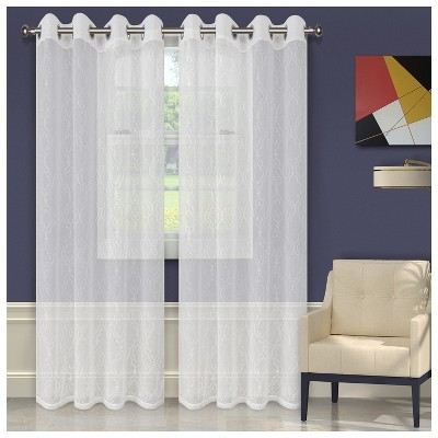 Embroidered Geometric Imperial Trellis Sheer Grommet-Top Curtain Panels by Blue Nile Mills