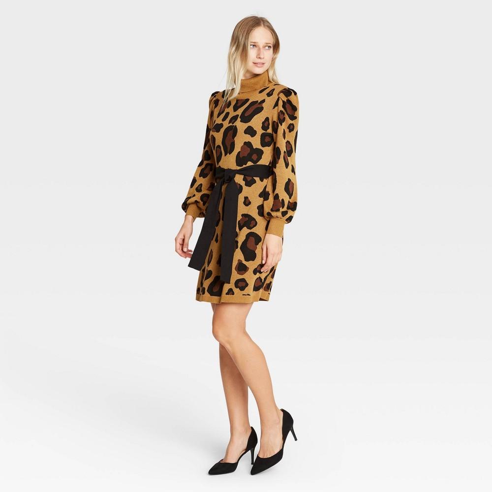 Women 39 S Leopard Print Balloon Long Sleeve Sweater Dress Who What Wear 8482 Brown S