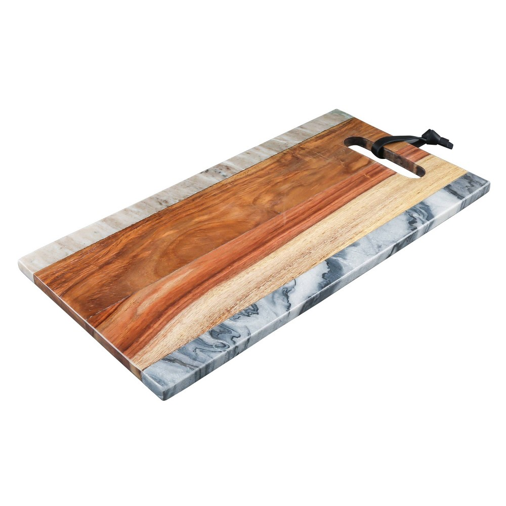 "Image of ""12"""" x 6"""" Marble and Sheesham Wood Serving Tray - Thirstystone"""
