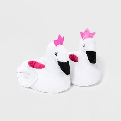 Baby Girls' Swan Bootie Slippers - Cat & Jack™ White 12-18M