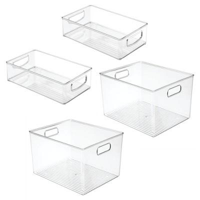 mDesign Plastic Kitchen Food Storage Organizer Bin, 4 Piece Set - Clear
