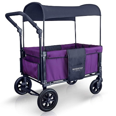 WONDERFOLD W1 Purple Multi-Function 2 Passenger Push Folding Stroller Wagon, Adjustable & Removable Canopy, Double Seats with 5-Point Harness, Violet