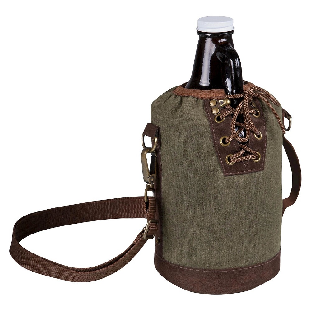 Image of Legacy by Picnic Time Growler Tote with 64 oz. Glass Growler - Khaki Green