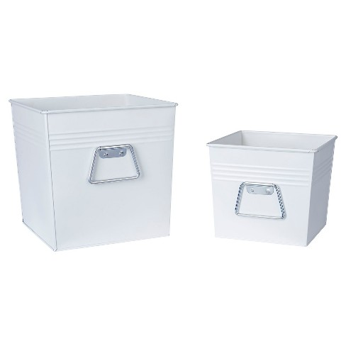 Household Essentials - Decorative Metal Bin 2 pc Set - White - image 1 of 2