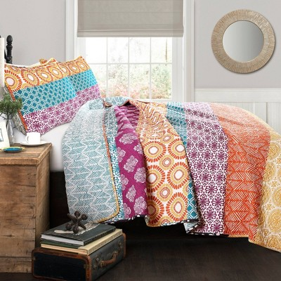 Bohemian Stripe 3 Piece Quilt Set - Lush Décor