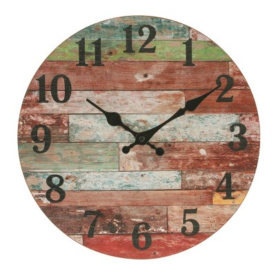 "12"" Farmhouse Worn Wood Wall Clock Red - Stonebriar Collection"