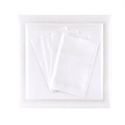 Full 6pc Wrinkle Free Satin Sheet Set White