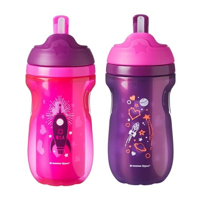 Tommee Tippee Insulated 2pk Straw Toddler Tumbler Cup - 12+ Months - 9oz - Pink/Purple