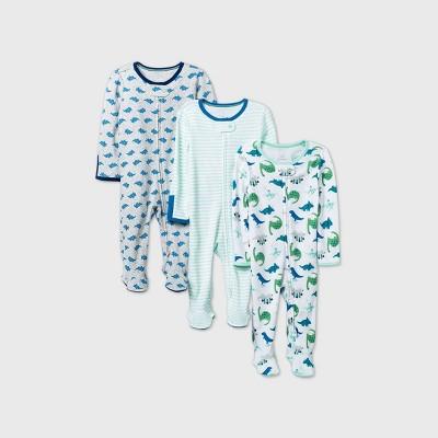 Baby Boys' 3pk Dino Dreams Sleep N' Play - Cloud Island™ Blue 0-3M