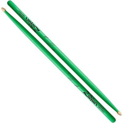 Zildjian Acorn Tip Neon Green Drumsticks 5A Wood Tip