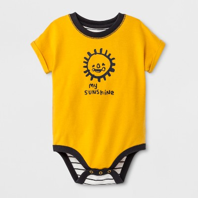 Baby Boys' Short Sleeve Bodysuits - Cat & Jack™ Yellow 0-3M