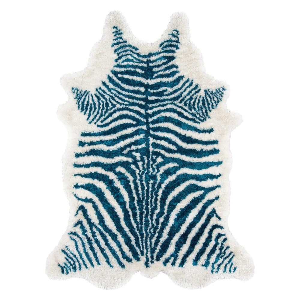 5'X7'6 Zebra Stripe Tufted Novelty Area Rug Turquoise - Novogratz By Momeni