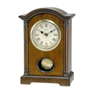 Bulova Clocks B7466 Dalton Chiming Pendulum Solid Wooden Table Clock with Gold Tone Pendulum and Protective Lens, Walnut Finish