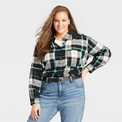 Women's Plus Size Long Sleeve Button-Down Flannel Tunic Top - Ava & Viv™