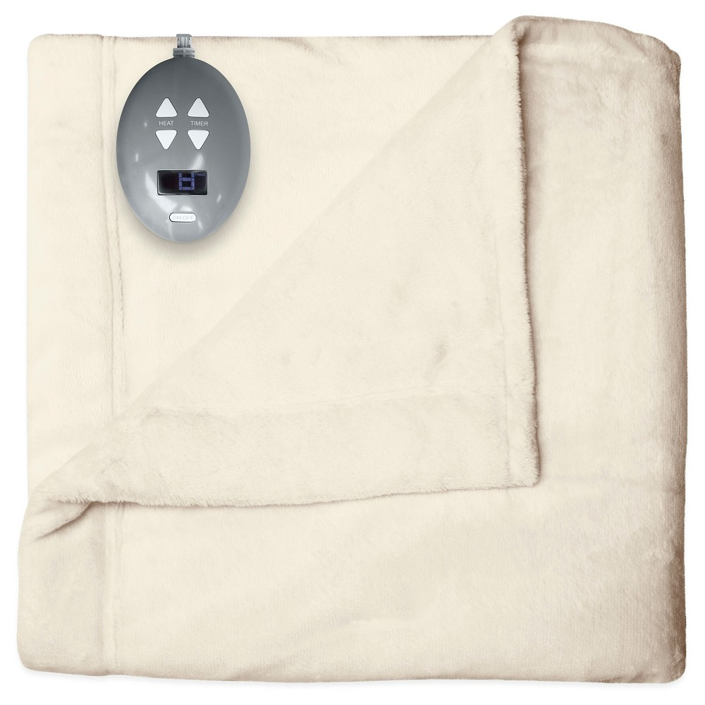 Velvet Plush Warming Blanket (Twin) Natural Vanilla (White) - Soft Heat
