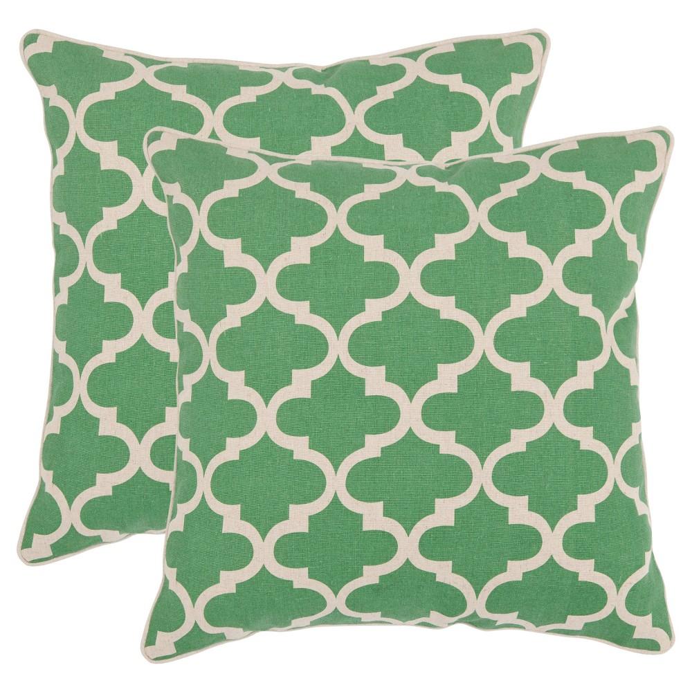 "Image of ""Green Suzy S/2 Pillow Throw Pillow (18""""x18"""") - Safavieh"""