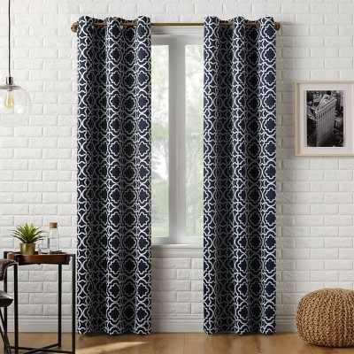 """84""""x40"""" Barnett Trellis Blackout Grommet Curtain Panel Navy - Sun Zero"""