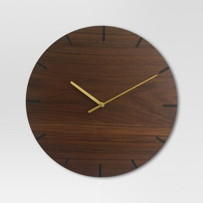 Wood 16  Clock Brass/Walnut Finish - Project 62™