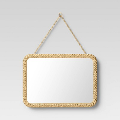 "14"" x 10"" Rectangle Thin Metal Mirror Brass - Opalhouse™"