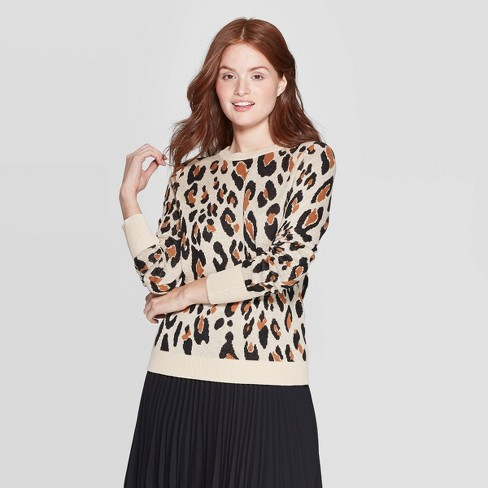 Women's Leopard Print Long Sleeve Rib-Knit Cuff Crewneck Pullover Sweater - A New Day™ Cream - image 1 of 3