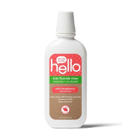 hello Kids Natural Wild Strawberry Anticavity Fluoride Rinse, Alcohol Free and Vegan, 473ml - image 1 of 4