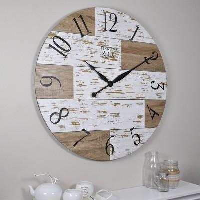 "27"" Harper Farmhouse Pallets Wall Clock Shabby White - FirsTime & Co."