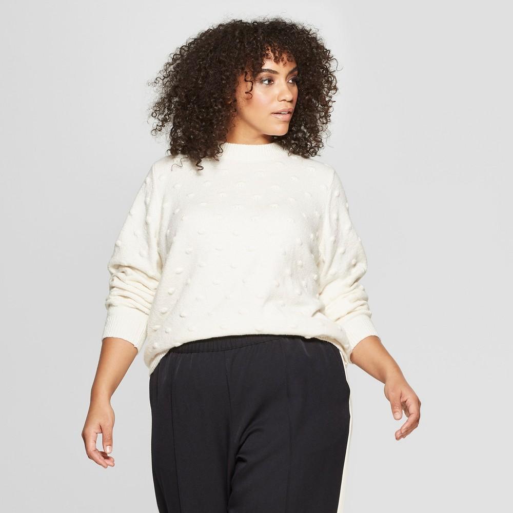 Women's Plus Size Long Sleeve Popcorn Stitch Crew - Who What Wear Cream (Ivory) 2X