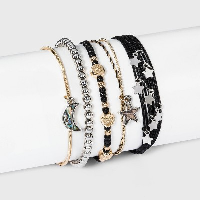 5 Row Multi-Plating Charms Beads and Cord Bracelet Set - Wild Fable™ Black