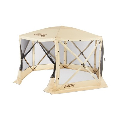 CLAM Quick-Set 12 x 12 Foot Escape Portable Pop Up Camping Outdoor Gazebo 6 Sided Canopy Shelter with Carrying Bag and Ground Stakes