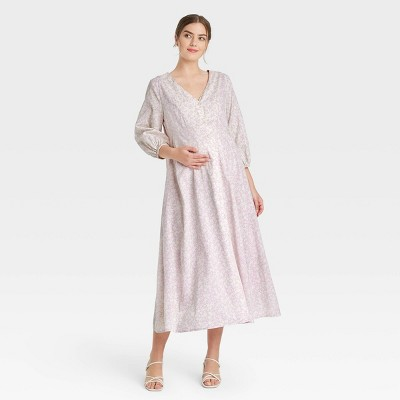 The Nines by HATCH™ Floral Print 3/4 Sleeve Button-Front Poplin Maternity Dress Purple