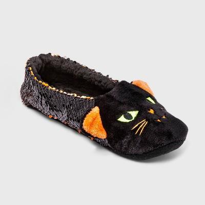 Women's Black Cat Flip Sequin Pull-On Slipper Socks with Grippers - Hyde & EEK! Boutique™ Black/Orange