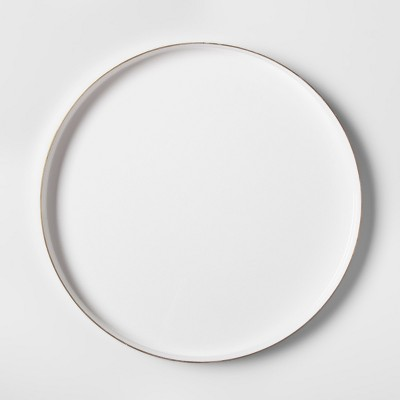 Round Brass Enamel Tray (14 )- White/Gold - Project 62™