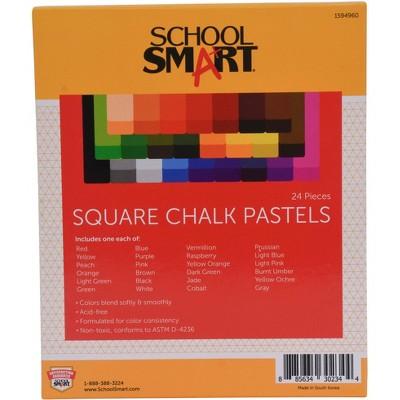 School Smart Square Chalk Pastels, Assorted Colors, set of 24