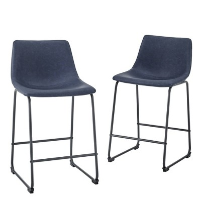 """Set of 2 26"""" Faux Leather Dining Kitchen Counter Height Barstools - Saracina Home"""