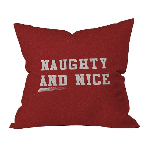 "Red Typography Leah Flores Naughty And Nice Throw Pillow (16""x16"") - Deny Designs® - image 1 of 1"