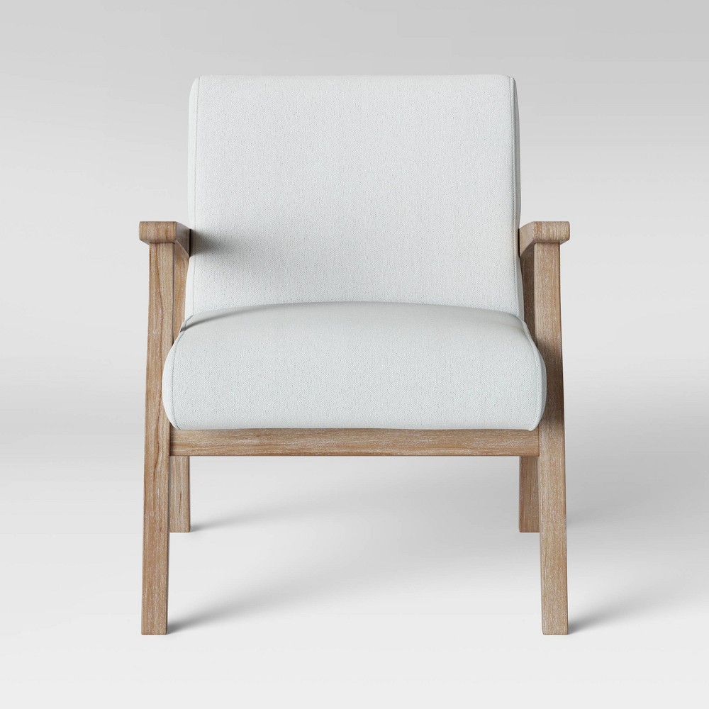 Maynard Wood Frame Accent Chair with Channel Tufting White - Threshold