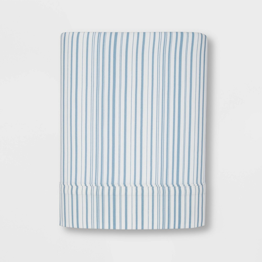 Twin 300 Thread Count Ultra Soft Flat Sheet Blue Stripe - Threshold Coupons
