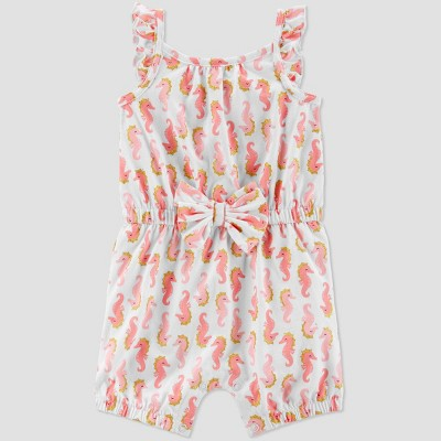Baby Girls' Seahorse Print One Piece Romper - Just One You® made by carter's White/Pink 3M